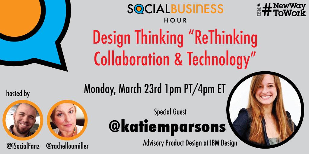 "#SBizHour 3/23 ""Rethinking Collaboration & Tech"" w/ @katiemparsons #NewWayToWork"